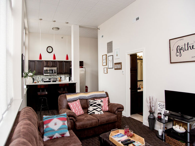Lamont Companies Lofts At Main Apartment Complex In Downtown Aberdeen SD  For Rent   Living Room